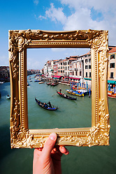 Venice Grand Canal framed in side picture frame