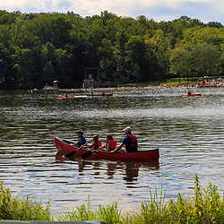 Mt. Gretna, PA, USA - August 23, 2015: Summer at the lake includes swimming and canoeing.