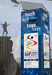 04.02.2011, Garmisch Partenkirchen, GER, FIS Alpine World Championships Garmisch Partenkirchen, Vorberichte, im Bild Preview images for the 2011 Alpine skiing World Championships. The countdown clock in the town centre, EXPA Pictures © 2011, PhotoCredit: EXPA/ M. Gunn