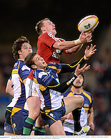 18 June 2013; Stuart Hogg, British & Irish Lions, contests a dropping ball with Ian Prior, Brumbies. British & Irish Lions Tour 2013, Brumbies v British & Irish Lions, Canberra Stadium, Bruce, Canberra, Australia. Picture credit: Stephen McCarthy / SPORTSFILE