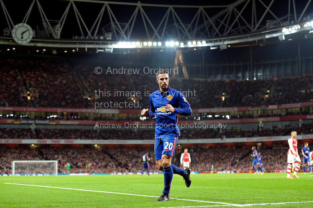 Robin van Persie of Manchester United looks on. Barclays Premier league match, Arsenal v Manchester Utd at the Emirates Stadium in London on Saturday 22nd November 2014.<br /> pic by John Patrick Fletcher, Andrew Orchard sports photography.
