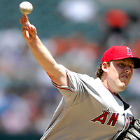 01 July 2007:  Los Angeles Angels starting pitcher John Lackey (41) pitches in the 3rd inning against the Baltimore Orioles.  Lackey pitched 7 1/3 innings, giving up 3 earned runs on 4 hits to earn his 11th win of the year as the Angels defeated the Orioles 4-3 at Camden Yards in Baltimore, MD.   ****For Editorial Use Only****