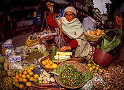 Fruit and vegetable seller, Kalimpong market, Sikkim, India