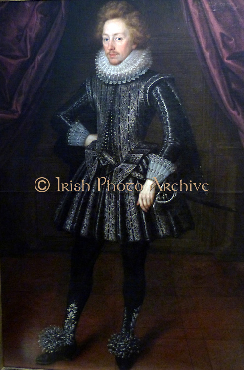 Portrait of Dudley, 3rd Baron North about 1630. Oil on canvas. Dudley North (1581-1666) was a leading figure of the court of James 1. Although Lord North would have posed for the head to be painted, it  was common for clothes to be painted later.
