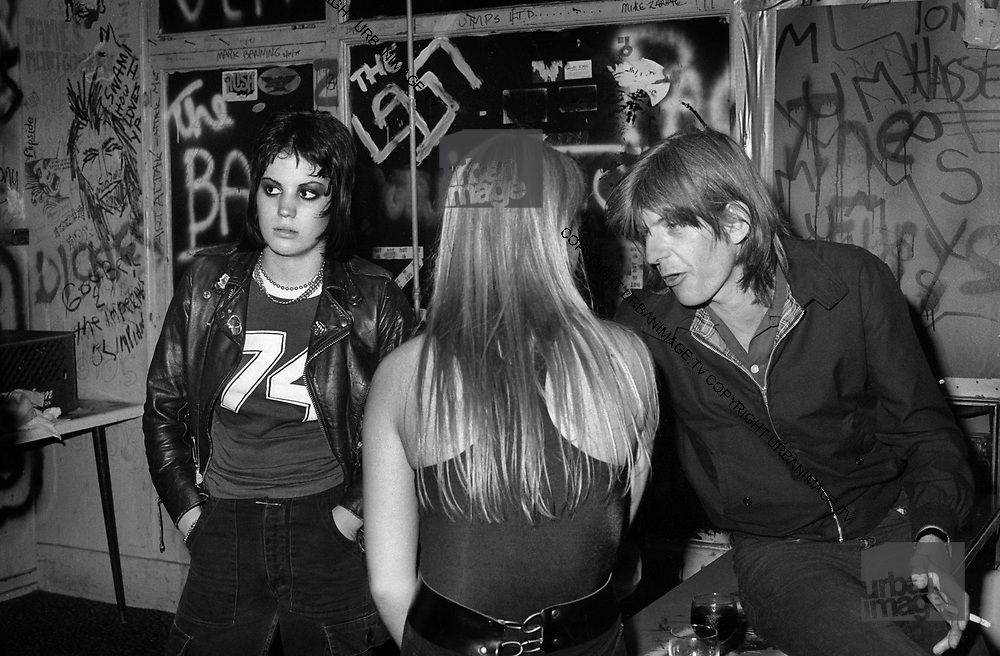 The Runaways with Nick Lowe  at the Roxy LA - photographed in 1978.