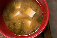 Miso soup. Cooking by macrobiotic master chef Mayumi Nishimura.<br /> <br /> Photographer: Christina Sjogren<br /> Copyright 2019, All Rights Reserved