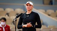 Elena Rybakina of Kazakhstan interviewed during the fourth round of the Roland-Garros 2021, Grand Slam tennis tournament on June 6, 2021 at Roland-Garros stadium in Paris, France - Photo Rob Prange / Spain ProSportsImages / DPPI / ProSportsImages / DPPI