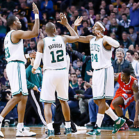 03 February 2013: Boston Celtics small forward Paul Pierce (34) celebrates with Boston Celtics center Jason Collins (98) and Boston Celtics shooting guard Leandro Barbosa (12) during the Boston Celtics 106-104 victory over the Los Angeles Clippers at the TD Garden, Boston, Massachusetts, USA.