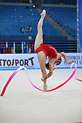 Kvieczynski Angelica during qualifying at ribbon in Pesaro World Cup at Adriatic Arena on 27 April 2013. Angelica is a Brazilian individual rhythmic gymnast born on September 1, 1991 in Toledo, Brazil.