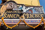Exterior view of the La Casa De La Santa Muerte or House of the Saint of the Dead November 1, 2017 in Santa Ana Chapitiro, Michoacan, Mexico.