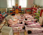 Visit during nap time of a Kindergarten in the Bayanzurkh District. Each room is equipped with an air purifier, in an attempt to lower the level of indoor air pollution. Children are especially vulnerable to air pollution.<br /> Mongolia