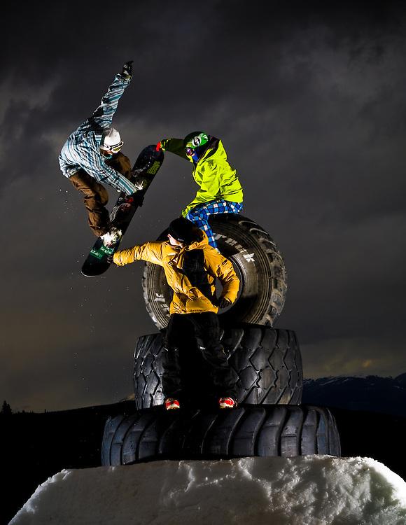 (L) AJ Szram, (T) Seth Hill, (B) Braden Wahr shot for Snowboards Colorado at Breckenridge Mountain in Breckenridge, Colorado.