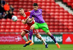Milan Djuric of Bristol City challenges Ben Gibson of Middlesbrough - Mandatory by-line: Matt McNulty/JMP - 14/04/2018 - FOOTBALL - Riverside Stadium - Middlesbrough, England - Middlesbrough v Bristol City - Sky Bet Championship