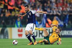 Scotland's James McArthur (left) and Lithuania's Arturas Zulpa in action during the 2018 FIFA World Cup Qualifying, Group F match at the LFF Stadium, Vilnius.