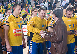 Robert Konecnik and Franjo Bobinac at Final match of Slovenian Men Handball Cup between RK Cimos Koper and RK Celje Pivovarna Lasko, on April 19, 2009, in Arena Bonifika, Koper, Slovenia. Cimos Koper won 24:19 and became Slovenian Cup Champion. (Photo by Vid Ponikvar / Sportida)