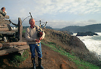 A man playing Bag Pipes on the Mendocino Headlands, Mendocino California