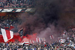 fans of Ajax Amsterdam during the UEFA Champions League third round qualifying second leg match between Ajax Amsterdam and Royal Standard de Liege at the Johan Cruijff Arena on August 14, 2018 in Amsterdam, The Netherlands