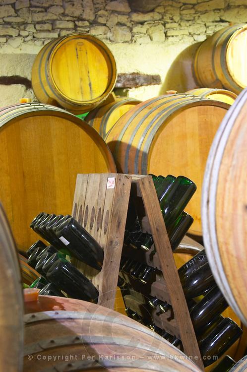 Domaine Jean Louis Denois. Limoux. Languedoc. Barrel cellar. France. Europe. Bottle.