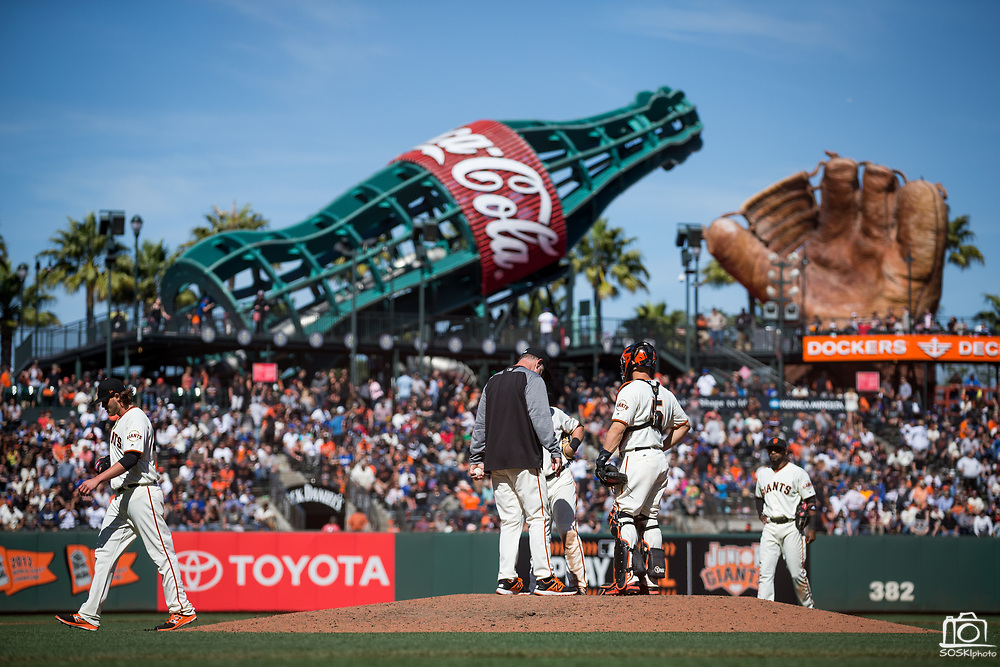 San Francisco Giants relief pitcher Steven Okert (48) gets pulled from the mound after walking a run in against the Los Angeles Dodgers at AT&T Park in San Francisco, California, on April 27, 2017. (Stan Olszewski/Special to S.F. Examiner)
