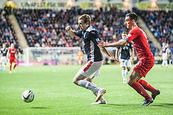 Falkirk's Blair Alston and Rangers Lee Wallace. Falkirk 0 v 2 Rangers, Scottish Championship game played 15/8/2014 at The Falkirk Stadium.