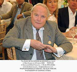The DUKE OF RICHMOND & GORDON at a lunch in West Sussex on 27th June 2004.PWM 234