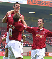 Photo: Dave Linney.<br />Walsall v Macclesfield Town. Coca Cola League 2. 16/09/2006.Walsall's Scott Dann(Centre) celebrates after making it 2-0