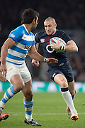 Twickenham, United Kingdom.  Mike BROWN running at Matias ORLANDO, during the Old Mutual Wealth Series Rest Match: England vs Argentina, at the RFU Stadium, Twickenham, England, <br /> <br /> Saturday  26/11/2016<br /> <br /> [Mandatory Credit; Peter Spurrier/Intersport-images]
