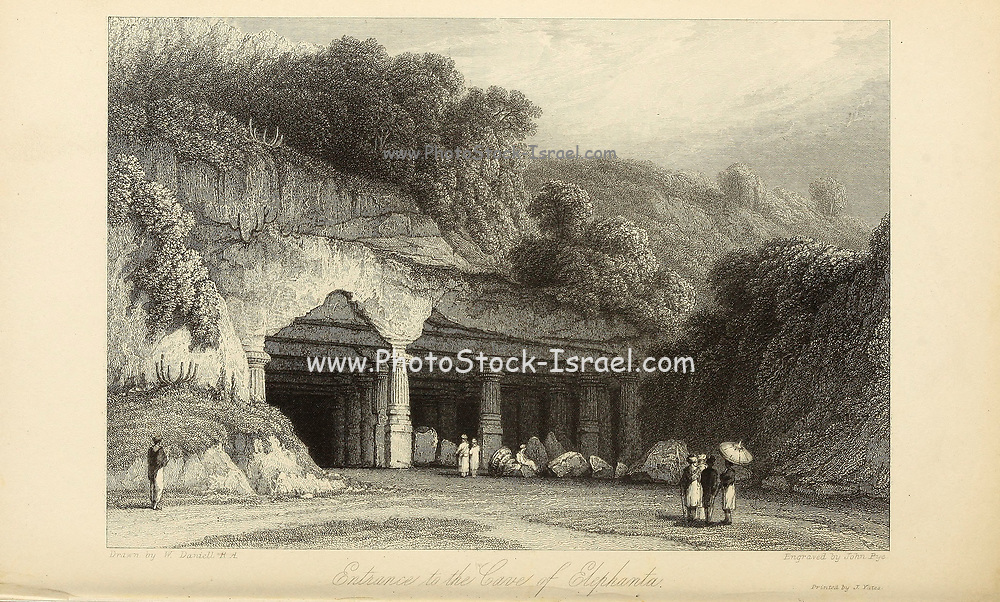 """Entrance To The Cave Of Elephanta [Elephanta Island (also called Gharapuri (literally """"the city of caves"""") or Pory Island) is one of a number of islands in Mumbai Harbour, east of Mumbai, India]. From the book ' The Oriental annual, or, Scenes in India ' by the Rev. Hobart Caunter Published by Edward Bull, London 1836 engravings from drawings by William Daniell"""