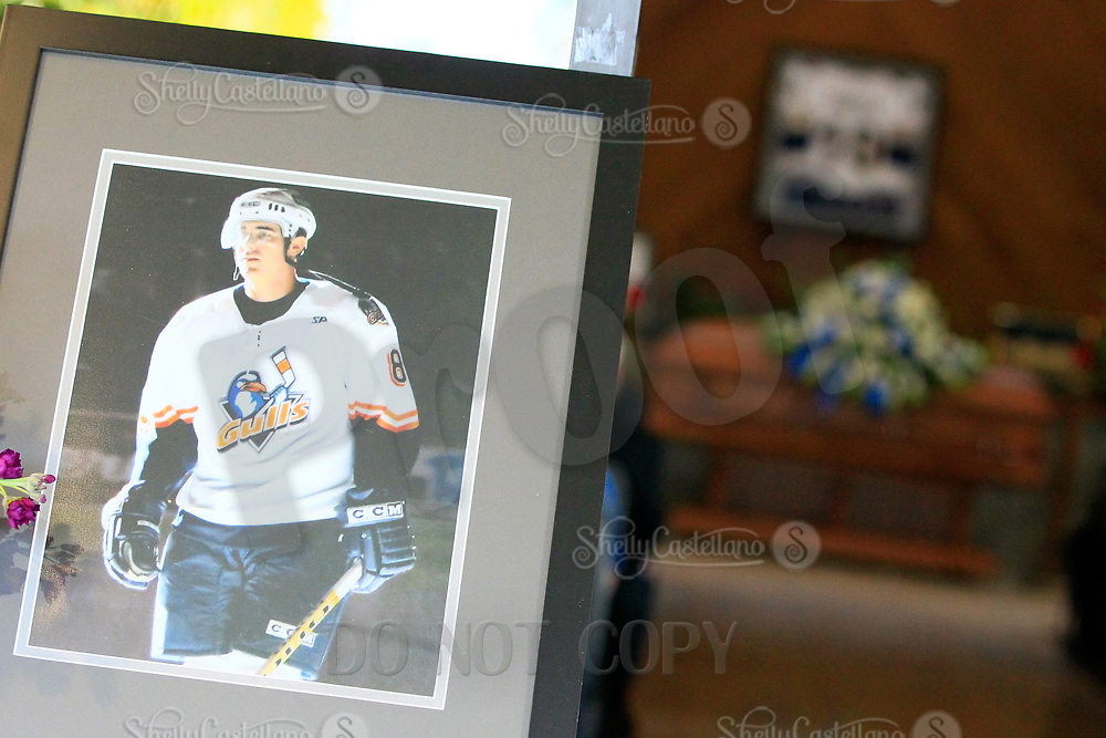 27 April 2019: Darren Parch (38) Memorial Service at Harbor Lawn-Mt. Olive Chapel in Costa Mesa, CA.  Darren Parch played for the ECHL San Diego Gulls hockey team 2005-2006.  Casket seen in background.