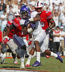 September 16, 2017 - Fort Worth, TX, USA - Texas Christian running back Darius Anderson (6) protects the ball as he runs for a 4-yard third-quarter touchdown at Amon Carter Stadium in Fort Worth, Texas, on Saturday, Sept. 16, 2017. TCU won, 56-36. (Credit Image: © Paul Moseley/TNS via ZUMA Wire)