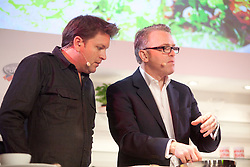 © London News Pictures. 12/04/2012. Gravesend, Kent. James Martin and Lawrence Keogh on stage at Glow Bluewater, Kent. Opening day of the BBC Good Food Show Spring at Glow, Bluewater, Kent.  Photo credit should read Manu Palomeque/LNP.