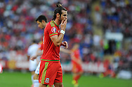 Gareth Bale of Wales looks on. Euro 2016 qualifying match, Wales v Israel at the Cardiff city stadium in Cardiff, South Wales on Sunday 6th Sept 2015.  pic by Andrew Orchard, Andrew Orchard sports photography.