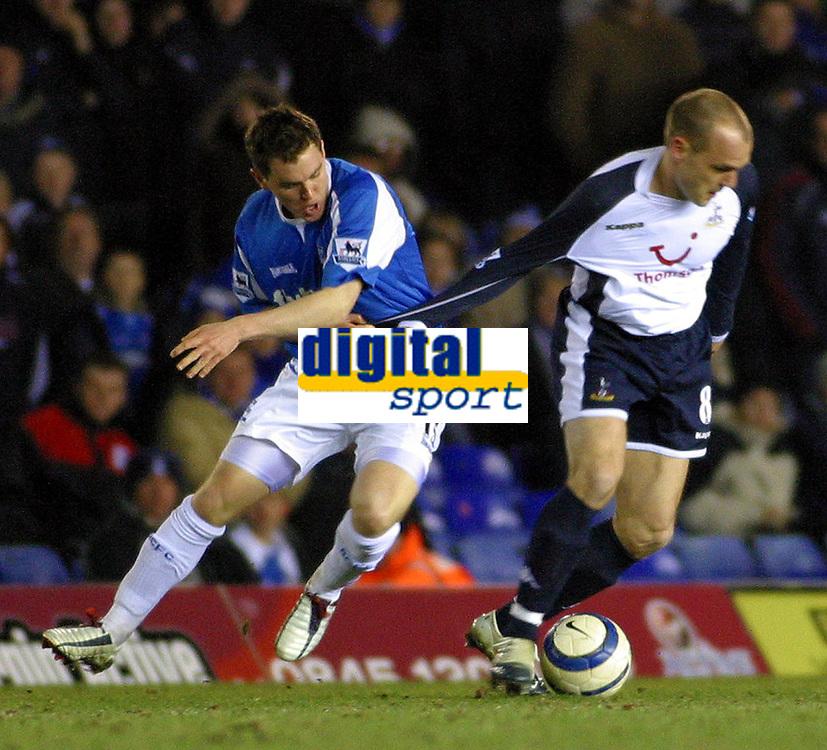 Photo: Dave Linney.<br />Birmingham City v Tottenham Hotspur. The Barclays Premiership. 18/03/2006.Spurs Danny Murphy(R) keeps  Martin Taylor at bay