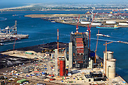 Nederland, Zuid-Holland, Maasvlakte,  23-05-2011; .Nieuwbouw  kolen/biomassacentrale  elektriciteitcentrale Electrabel (GDF Suez) . ..New build coal / biomass power plant Electrabel and the LNG installation in the Port of Rotterdam. .luchtfoto (toeslag), aerial photo (additional fee required).copyright foto/photo Siebe Swart