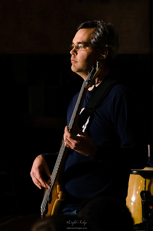 Kevin Stamper of Blue Wave Theory on bass during their performance at The Bus Stop Music Cafe in Pitman, NJ.