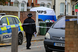 © Licensed to London News Pictures. 24/10/2020. London, UK. A police tent in a front garden of a property on Westbury Road in Walthamstow, East London following the death of a 22 year old man. The victim was stabbed on Friday and was pronounced dead at the scene just before 10pm. Photo credit: Dinendra Haria/LNP