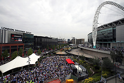 General view of fans in a fan zone outside the stadium ahead of the Sky Bet Championship play-off final at Wembley Stadium, London.