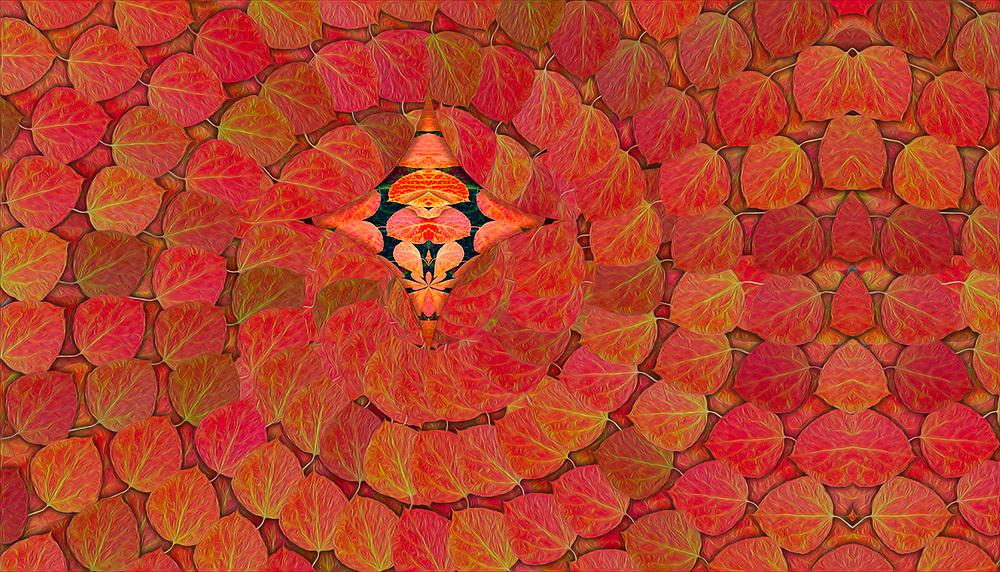 """Aspen Mentor 2"", derivative image from a photo of aspen leaves, autumn, Leavenworth, WA, USA"