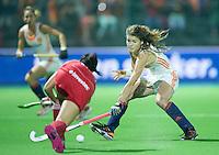 BOOM -  Roos Drost tijdens de halve finale van het EK hockey tussen de vrouwen van Nederland en Engeland. ANP KOEN SUYK