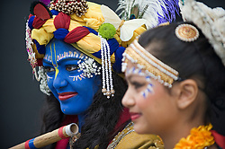 © Licensed to London News Pictures. 21/08/2011. Aldenham, UK. Two girls dressed as Krishna and Radha at Bhaktivedanta Manor Temple near Watford today (21/08/2011) to celebrate  the festival of Janmashtami, a celebration of the birth anniversary of Lord Krishna. Janmashtami at Bhaktivedanta Manor is the largest Krishna gathering outside of India with over 60,000 people attending over two days. Bhaktivedanta Manor was donated to the Hare Krishna movement in the early 1970's by former Beatle George Harrison. Photo credit: Ben Cawthra/LNP