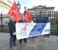 Members of the Unite union demonstrate outside the St Andrews Square Head Office of Royal Bank of Scotland against plans for a series of branch closures across the country by the taxpayer-owned bank.<br /> <br /> © Dave Johnston / EEm