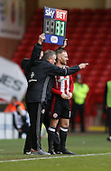 Matt Done of Sheffield Utd receives instructions from Chris Wilder manager of Sheffield Utd during the English League One match at Bramall Lane Stadium, Sheffield. Picture date: December 31st, 2016. Pic Simon Bellis/Sportimage