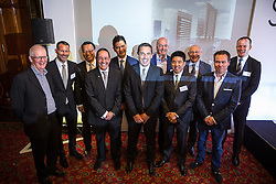 © Licensed to London News Pictures . 28/07/2016 . Manchester , UK . Group photo of all the stakeholders . Launch of the St Michael's city centre development , at the Lord Mayor's Parlour in Manchester Town Hall . Backed by The Jackson's Row Development Partnership (comprising Gary Neville , Ryan Giggs and Brendan Flood ) along with Manchester City Council , Rowsley Ltd and Beijing Construction and Engineering Group International , the Jackson's Row area of the city centre will be redeveloped with a design proposed by Make Architects . Photo credit : Joel Goodman/LNP