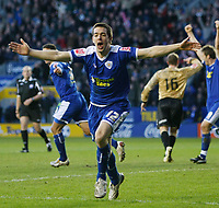 Photo: Steve Bond/Richard Lane Photography. Leicester City v Huddersfield Town. Coca Cola League One. 24/01/2009. Matty Fryatt celebrates