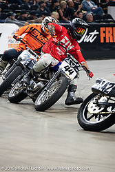 Brandon Gonzalez racing his 1991 Harley-Davidson Sportster in the Flat Out Friday flat track race on the Dr. Pepper-covered track in the UW-Milwaukee Panther Arena during the Harley-Davidson 115th Anniversary Celebration event. Milwaukee, WI. USA. Friday August 31, 2018. Photography ©2018 Michael Lichter.