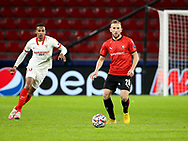 Flavien Tait of Stade Rennais, Fernando Reges of Sevilla FC (left) during the UEFA Champions League, Group E football match between Stade Rennais and Sevilla FC (FC Seville) on December 8, 2020 at Roazhon Park in Rennes, France - Photo Jean Catuffe / ProSportsImages / DPPI
