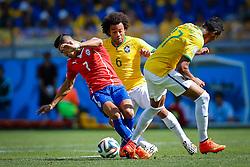 Marcelo na partida entre Brasil x Chile, válida pelas oitavas de final da Copa do Mundo 2014, no Estádio Mineirão, em Belo Horizonte. FOTO: Jefferson Bernardes/ Agência Preview