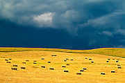 Square bales and storm light. Holland, Manitoba