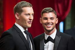 © Licensed to London News Pictures . 16/05/2015 .  The Palace Hotel , Manchester , UK . James Sutton and Kieron Richardson . The red carpet at the 2015 British Soap Awards , The Palace Hotel , Oxford Road , Manchester . Photo credit : Joel Goodman/LNP