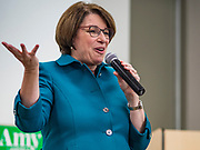 04 MAY 2019 - GRINNELL, IOWA: US Senator AMY KLOBUCHAR, (D-MN), talks to a crowd of about 150 people in a community room at Drake Community Library in Grinnell, IA. Sen. Klobuchar is touring Iowa Saturday to support her bid for the Democratic nomination of for the US Presidency in the 2020 election. Iowa traditionally hosts the the first election event of the presidential election cycle. The Iowa Caucuses will be on Feb. 3, 2020.          PHOTO BY JACK KURTZ